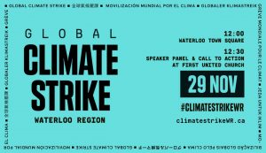 Poster for the November 29, 2019 Climate Strike in Uptown Waterloo, Ontario